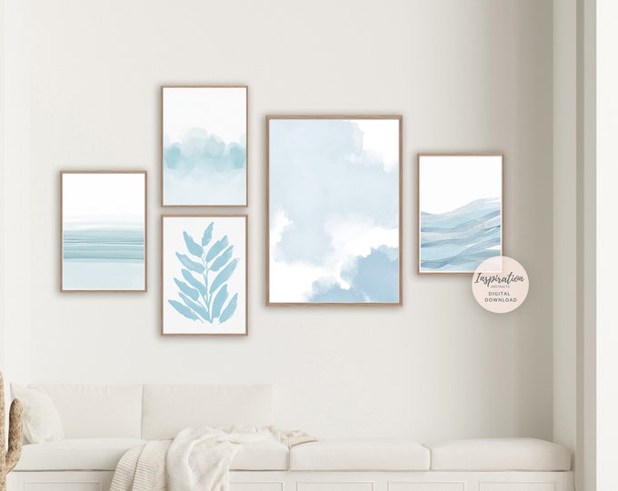 Pale Blue Gallery Wall Set, Minimal Abstract Paintings, 5 Piece Wall Art, Zen Wall Art, Printable Art, Minimalist Art, Watercolour Prints