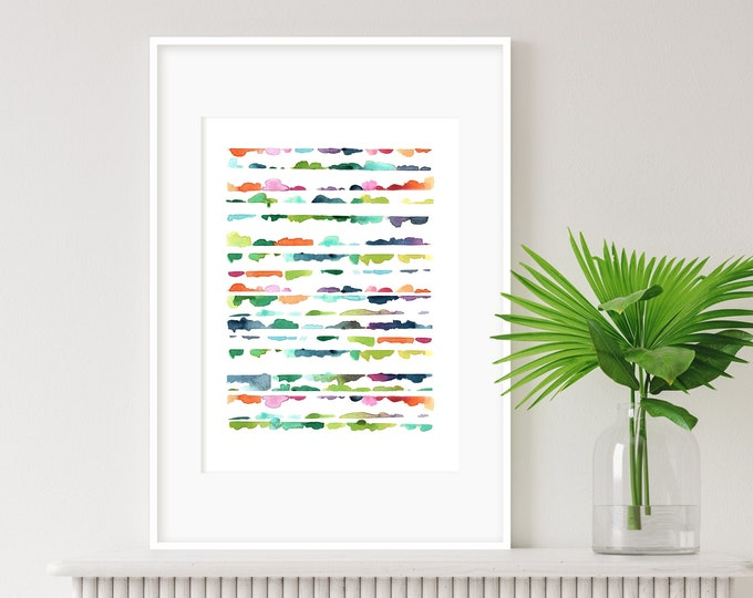 Vibrant Watercolour Print, Abstract Wall Art, Multicoloured Art, Modern Art, Minimalist Art, Nursery Art, Kids Room Art, Cheerful wall art