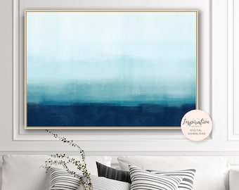 Blue Ombre Painting, Printable Abstract Art, Acrylic Art, Large Wall Art,  Contemporary Art