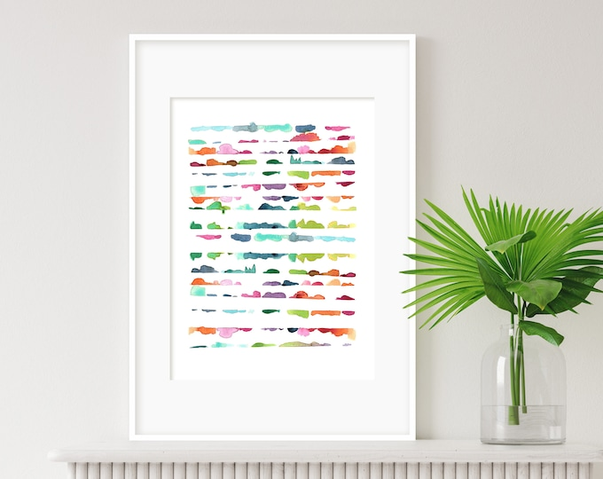 Vibrant Watercolour Print, Colourful Wall Art, Abstract Art, Modern Art, Minimalist Art, Nursery Art, Kids Room Art, Cheerful wall art