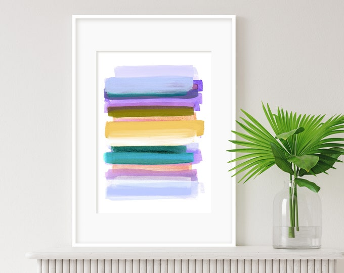 Colourful Wall Art, Minimal Abstract Art, Mixed Media Art, Nursery Art, Vibrant Wall Art, Watercolour Print,  Kids Room Art, Rothko Inspired