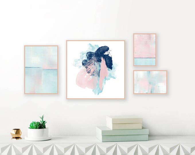 Gallery Wall Prints, Blush Pink and Blue Abstract Art, Downloadable Paintings