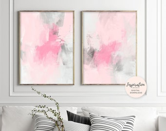 Large Abstract Art, Set of 2 Prints, 24x36 Art Prints, Dusty Pink and Grey, Printable Wall Art, Mixed Media Art, Inspiration Abstracts