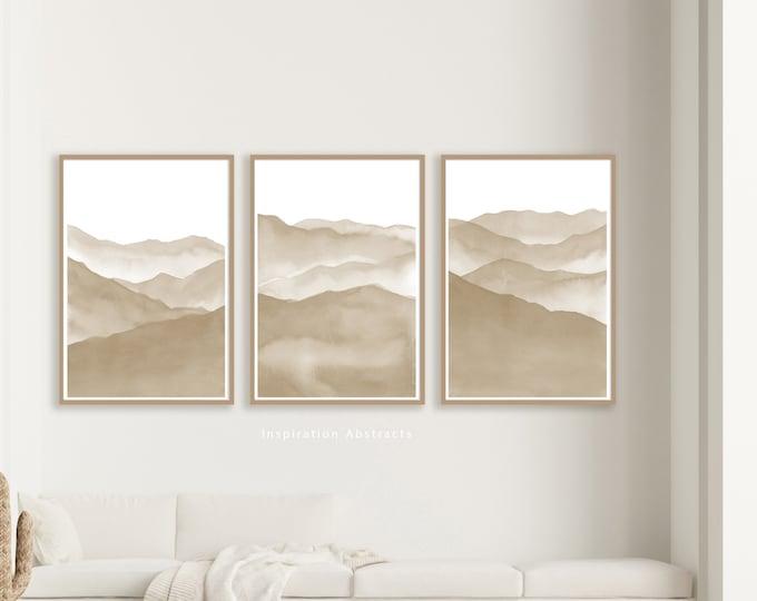 Minimal Beige Mountain Prints, 3 Piece Wall Art, Zen Wall Art, Living Room Art, Abstract Art, Large Wall Art, Printable Art