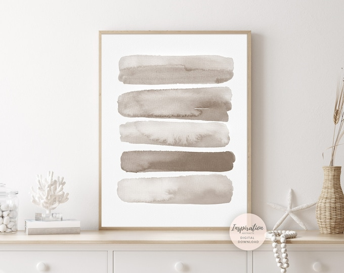 Beige Brushstrokes Print, Minimal Watercolour Print, Abstract Art, Printable Art, Neutral Decor, Zen Wall Art, Calming Wall Art