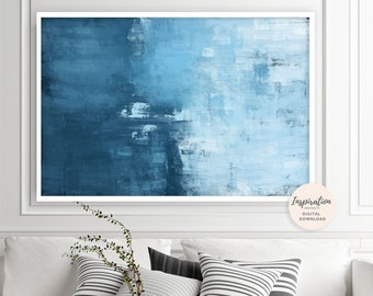 Large Abstract Art, Minimal Oil Painting, Blue Wall Art, Minimalist Painting, Printable Wall Art, Contemporary Art, Horizontal Art Print