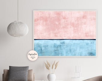 Abstract Art, Blush Pink and Blue Wall Art, Abstract Painting, Large Wall Art, Wall Art Living Room, Minimal Abstract, Bedroom Art