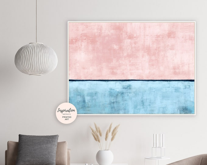 Abstract Art, Blush Pink and Blue Wall Art, Abstract Painting, Large Wall Art, Wall Art Living Room, Minimal Abstract, Bedroom Art