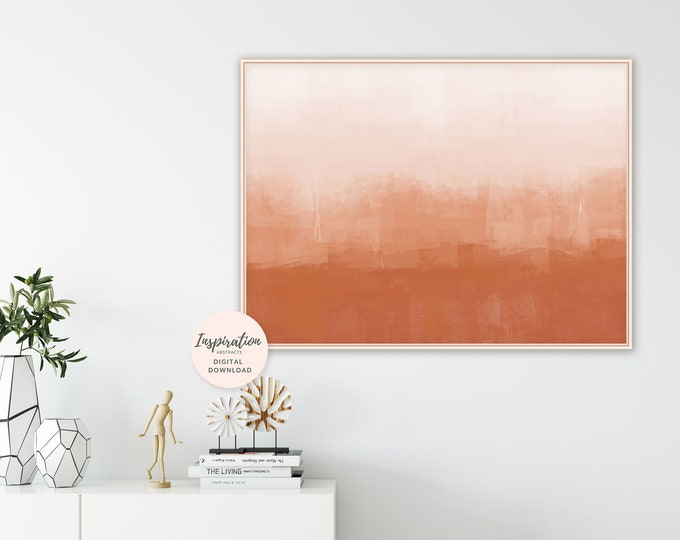 Large Minimal Painting, Burnt Orange Abstract Art, Terracotta Print, Horizontal Wall Art, Printable Art, Ombre Wall Print, Earth Tones