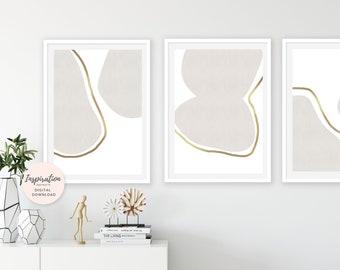 Large Minimalist Prints, Gold Art, Set of 3 Prints, Neutral Wall Art, Vertical Wall Art, Oversized Wall Art, Large Wall Art