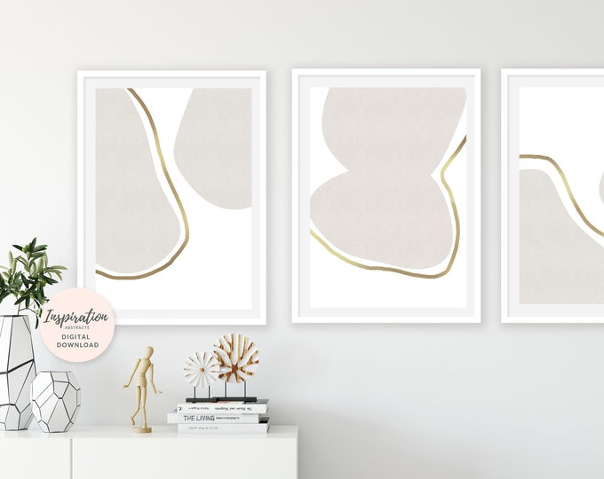 Set of 3 Large Minimalist Prints, White and Gold Wall Art, Set of 3 Prints, Neutral Wall Art, Large Wall Art, Oversized Wall Art