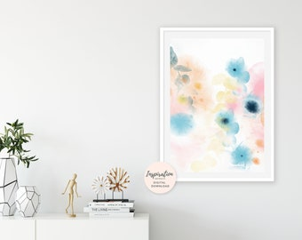 Pastel Wall Art Print, Colourful Art Print, Abstract Watercolor, Nursery Wall Art, Large Abstract Print, 24x36 Art Print, Digital Download