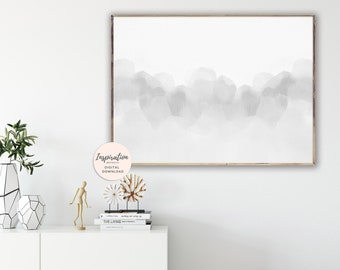 Grey Abstract Art, Calming Wall Art, Watercolour Painting, Minimalist Painting, Large Abstract Print, Neutral Art Print, Printable Art