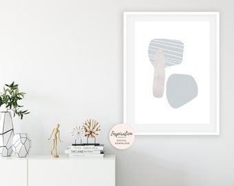 Minimal Collage Print, Mid Century Wall Art, Scandinavian Decor, Beach House Art, Large Wall Art, Living Room Art, Handmade Art
