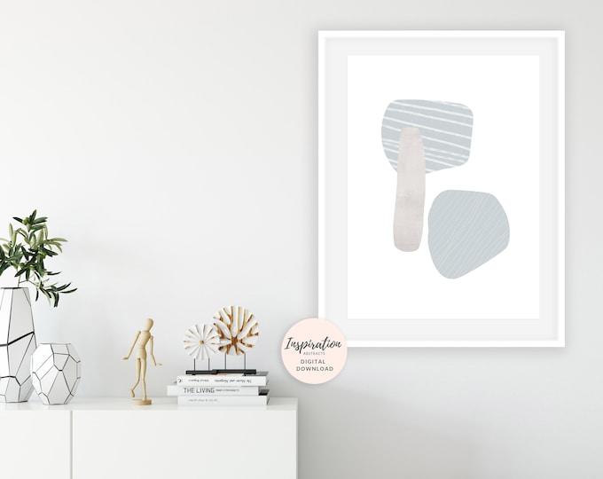 Minimal Collage Print, Mid Century Wall Art, Scandinavian Decor, Beach House Art, Large Wall Art, Living Room Art, Handmade Art