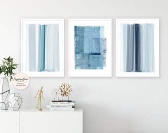 Minimal Abstract Art, Gallery Wall Prints, Set of 3 Prints, Blue Art Prints, Vertical Wall Art, Mindful Art