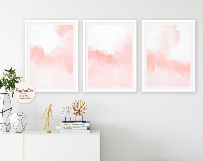 Pink Watercolour Prints, 3 Piece Wall Art, Nursery Prints, Pink Wall Art, Abstract Art, Bedroom Decor, Modern Art, Oversized Wall Art