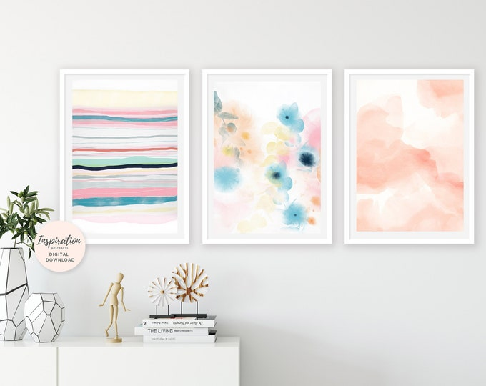 Gallery Wall Set, Colourful Wall Art, Set of 3 Prints, Abstract Nursery Art, Large Wall Art, Abstract Wall Art, Baby Girl Nursery