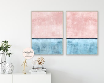 Set of 2 Prints, Minimalist Paintings, Abstract Art, Printable Wall Art, Modern Wall Decor, Oil Paintings, Vertical Wall Art, Blush Pink Art