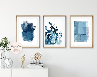 Gallery Wall Prints, Navy Blue Wall Art, Set of 3 Prints, Vertical Wall Art, Large Wall Art, Botanical Art Prints, Abstract Art