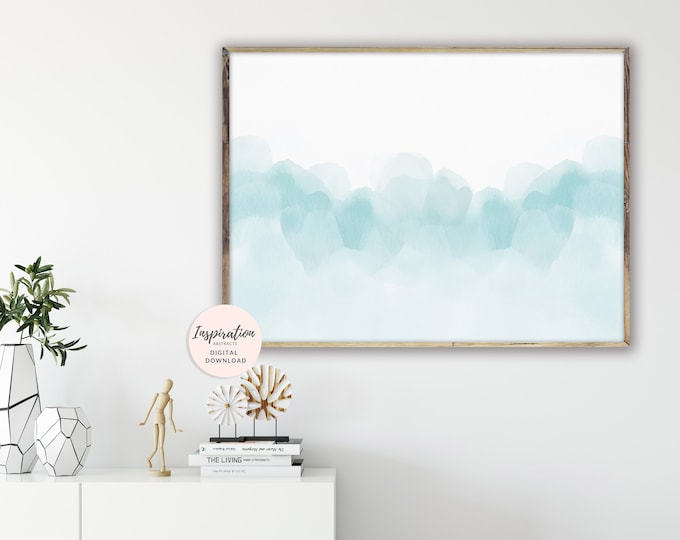 Serene Watercolour Painting, Beach House Art, Large Abstract Print, 20x30 Art Print, Digital Download, Extra Large Painting