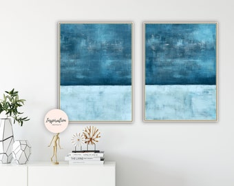 Minimal Art, Set of 2 Prints, Blue Wall Art, Printable Wall Art, Acrylic Paintings, 24x36 Art Print, Oversized Wall Art, Scandi Art