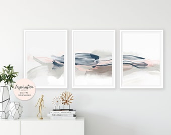 Minimal Wall Art, Set of 3 Prints, Pink Navy Wall Art, 24x36 Art Prints, Large Wall Art, Scandinavian Art, Mixed Media Art