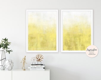 Yellow Paintings, Minimalist Art, Set of 2 Prints, 24x36 Art Prints, Oil Paintings, Yellow Wall Art, Oversized Wall Art, Large Abstract Art