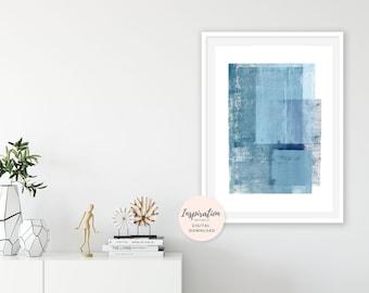 Minimalist Painting,  Modern Wall Art, Hygge Art, Vertical Art Print, Scandinavian Print,  24x36 Art Print, Blue Painting