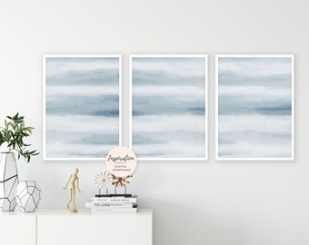 Calming Art Prints, Pale Blue Abstract Art, Set Of 3 Prints, 24x36 Art Prints, Scandinavian Art, Living Room Art, Large Wall Art