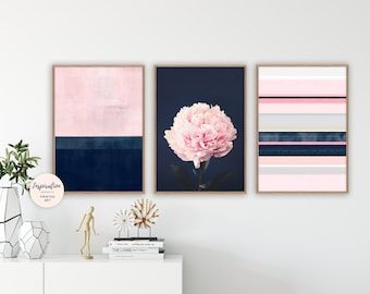 Pink and Navy Wall Art, Set of 3 Prints, Abstract Art, Peony Print, Bedroom Decor, living Room Decor, Modern Wall Art
