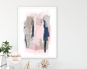 Contemporary Abstract Art, Mixed Media Art, Apartment Decor, 50x70 Wall Art, Pink and Navy, Large Wall Art, Living Room Art