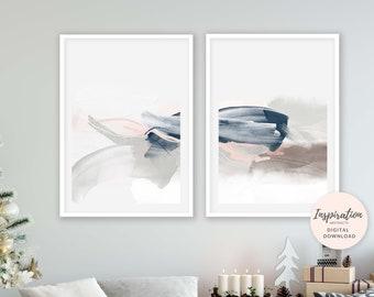 Set of 2 Minimal Abstract Prints, Serene Abstract Art, 24x36 Art Prints, Lounge Paintings, Pink Navy Wall Art