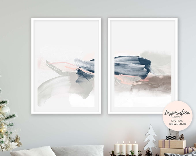 Featured listing image: Set of 2 Minimal Abstract Prints, Serene Abstract Art, 24x36 Art Prints, Lounge Paintings, Pink Navy Wall Art