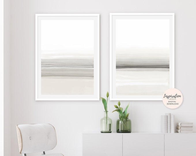 Minimal Watercolour Prints, Set of 2 Art Prints, Simple Wall Art, Neutral Decor, Large Wall Art, 24x36 Art Print, Living Room Art