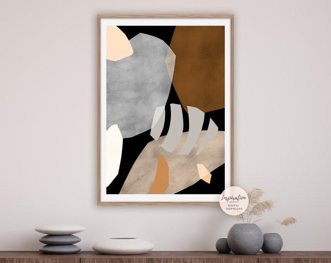 Modern Collage Print, Abstract Wall Art, Boho Decor, Printable Art, Bedroom Decor, Earth Tone Art, Large Wall Art, Neutral Tone Print
