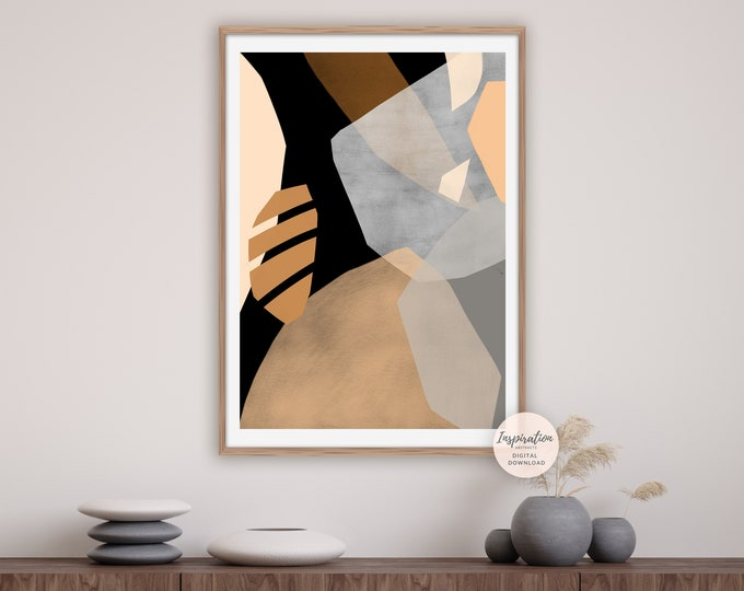 Bold Abstract Art, Collage Art, Modern Art Print, Printable Art, large Minimalist Prints, Earth Tone Art, Warm Tone Print, Large Wall Art