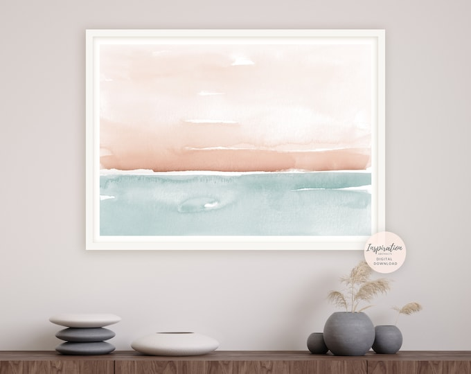 Large Watercolour Painting, Coastal Wall Art, Large Minimal Art, Printable Art, Landscape Painting, Zen Wall Art, Abstract Art