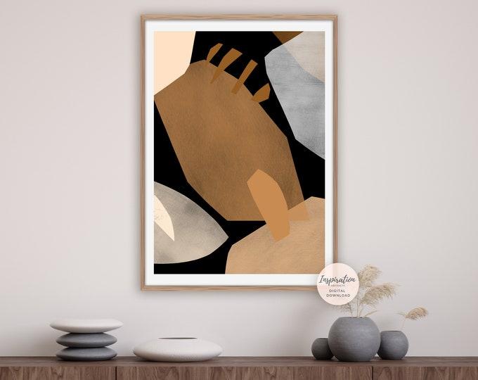 Abstract Collage Art, Modern Art Print, Printable Art, Abstract Art, Boho Wall Art, Earth Tone Art, Dining Room Decor Art, Large Wall Art