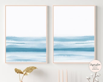 Zen Wall Art, Blue Watercolour Paintings, Set of 2 Prints, Blue Wall Art, Modern Wall Art, Printable Art, Bedroom Decor, Beach House Decor