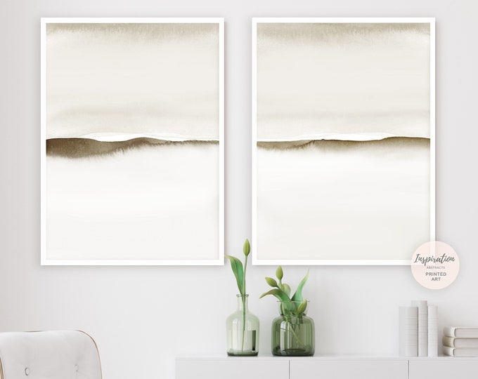 Minimal Abstract Paintings, Set of Two Prints, Neutral Art Prints, Minimalist Art, Abstract Art, Bedroom Wall Art, Beige Cream Wall Art