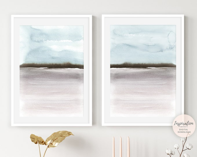 Set of Two Prints, Landscape Paintings, Blue Grey Wall Art, Watercolour Print, Serene Wall Art, Minimalist Print, Abstract Wall Art