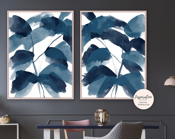 Set of Two Abstract Leaf Prints, Navy Blue Wall Art, Leaf Poster, Abstract Wall Art, Watercolour Print, Modern Art, Printable Art