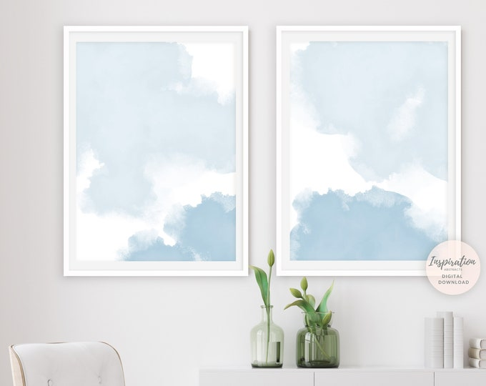 Pale Blue Watercolour Paintings, Printable Art, Set of 2 Prints, Abstract Paintings, Nursery Wall Art, Large Wall Art, Minimalist Print Set