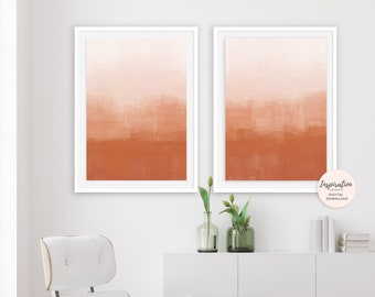 Minimalist Paintings, Burnt Orange Abstract Art, Set of 2 Prints, Abstract Wall Art, Modern Wall Decor, Digital Download, Oversized Art