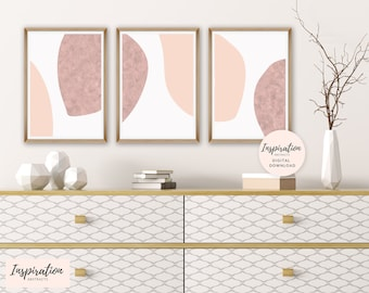 Set of 3 Minimal Abstract Prints, Neutral Wall Art, Blush Pink Wall Art, Set of 3 Prints, Large Wall Art, Digital Download