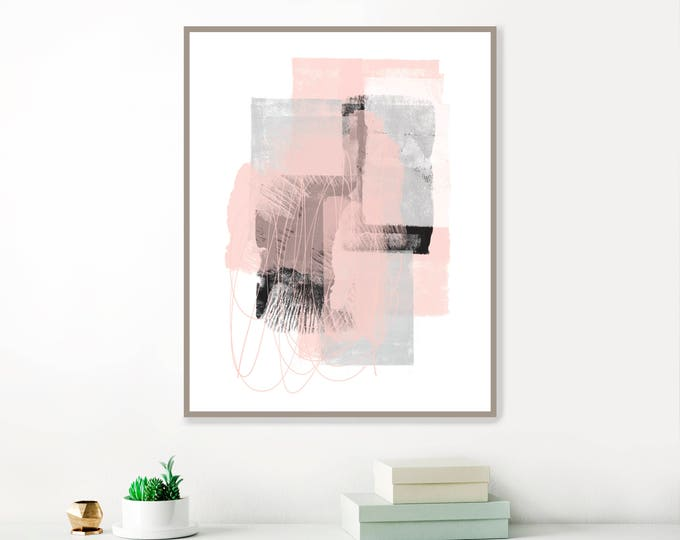 Pink and Grey Abstract Art, Minimalist Modern Art