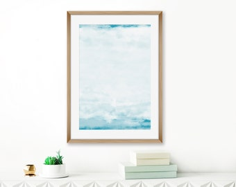 Contemporary Watercolour Print, Blue and White Wall Art, Abstract Painting, Pale Blue Coastal Wall Art, 24x36 Print, Printable Decor
