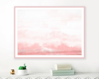 Abstract Watercolour Print, Printable Abstract Art, Dusty Pink Watercolor Painting, Bedroom Painting, Large Living Room Art