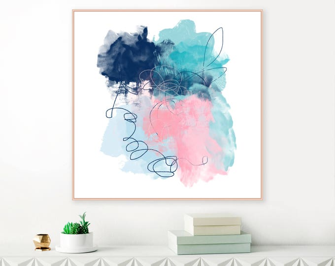 Oversized Abstract Painting, Pink, Navy Blue and Turquoise Abstract Art, Large Mixed Media Art